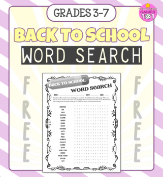 Back to School Word Search FREEBIE