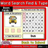 Back to School Word Search Find & Type - Boom Cards - Digi