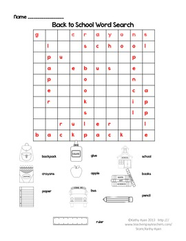 Back to School Word Search Freebie