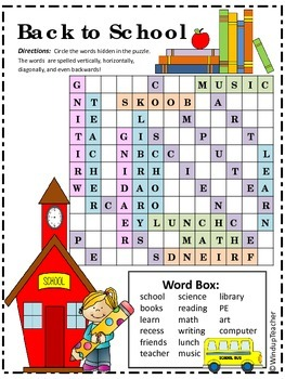Back to School Word Search *Hard