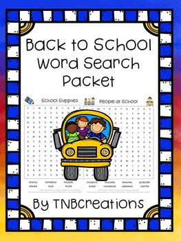 Back to School Word Search Packet