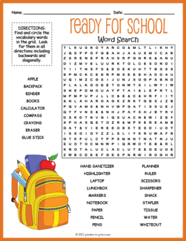 Back to School Word Search Puzzle