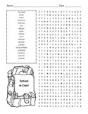 Back to School Word Search Puzzle / 3rd Grade
