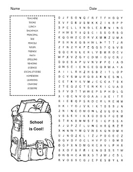 Back to School Word Search Puzzle / 3rd Grade by Kelly ...