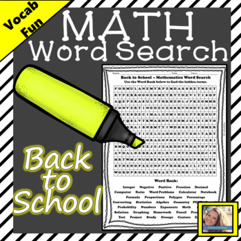 Back to School Word Search for Math