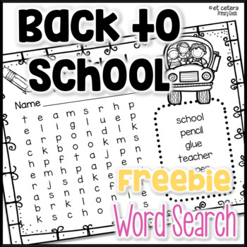 Back to School Word Search for Primary Grades *SAMPLE*