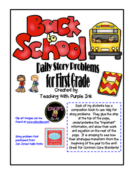 First Grade Back to School Story Problems