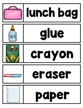 Back to School Word Wall- 40 words with colorful pictures