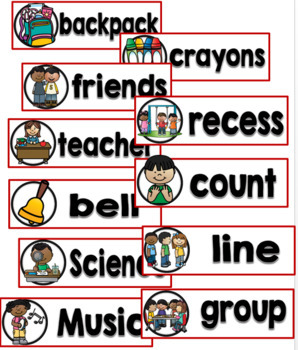 Back to School Word Wall Cards Set