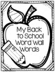 Back to School Word Wall Word Cards