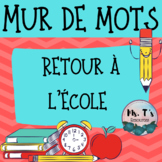 Back to School Word Wall Words - French