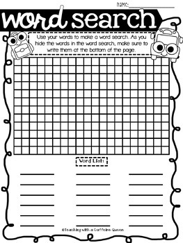 Back to School Word Work Activities - NO PREP - Use with ANY Word List!