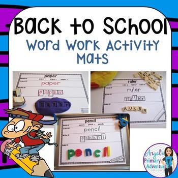 Back to School Word Work Activity Mats