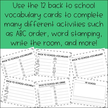 Back to School Word Work Centers (Vocabulary)