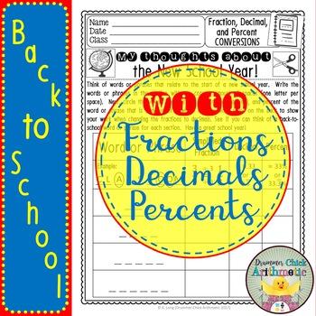 Back to School Words - Fraction/Decimal/Percent Conversions
