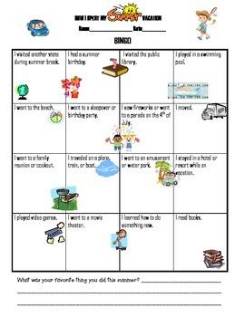 Back to School Wordsearch And Summer Bingo