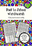 Back to School Wordsearch - First Day of School - Orientation Activity