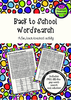 Back to School Wordsearch - First Day of School - Orientat