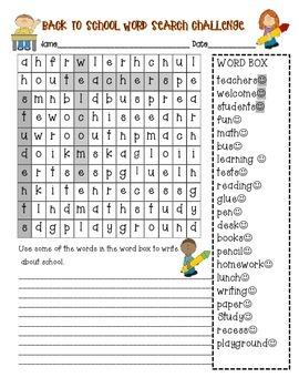 Back to School Wordsearch & Learning Inventory Survey