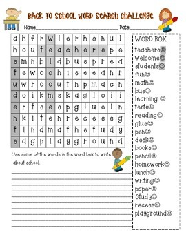 Back to School Wordsearch and Addition Activity Page