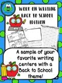 Back to School Work on Writing FREEBIE