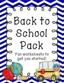 Back to School Worksheet Pack