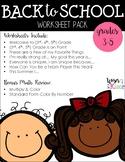 Back to School Worksheet Pack for Upper Elementary
