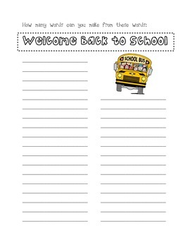 Back to School Worksheets