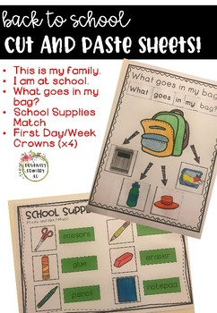 Back to School Worksheets - First Week of School Cut and Paste #ausbts18