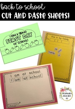 Back to School Worksheets - First Week of School Cut and Paste