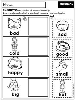 FREE Back to School Worksheets Kindergarten