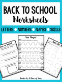 Back to School Worksheets (NO PREP)
