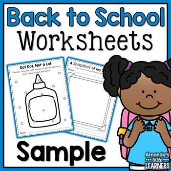 Back to School Worksheets Sample - Free
