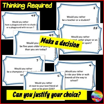 Back to School Would You Rather? Critical Thinking Decision Making Cards