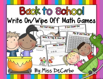 Back to School Write On Wipe Off Math Games and Centers