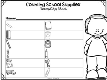 September/Back to School Math Center- Write the Room Counting Cards