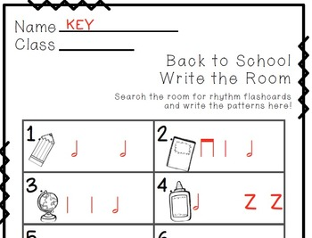 Back to School Write the Room Music Edition half note Set