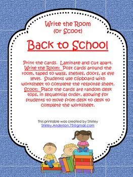 Back to School- Write the Room/ Scoot