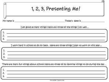 Back to School Writing- 1,2,3, Presenting Me!