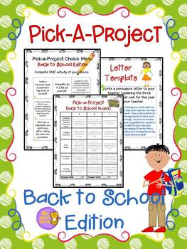 Back to School Beginning of the Year Choice Menu Activities, Rubric, & Templates