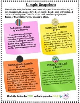 Intermediate Writing Samples for Back to School Grades 3-5