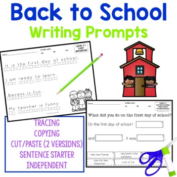 Back to School Writing Activities for students with autism