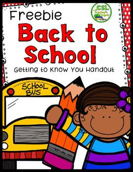 Free Back to School Handout