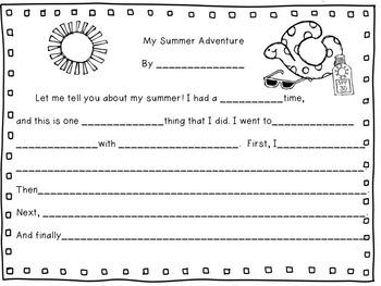 Back to School Writing Activity: My Summer Adventure