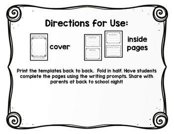 Back to School Night Writing Book for First Grade