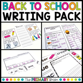 Back to School Writing Activity Pack | Distance Learning