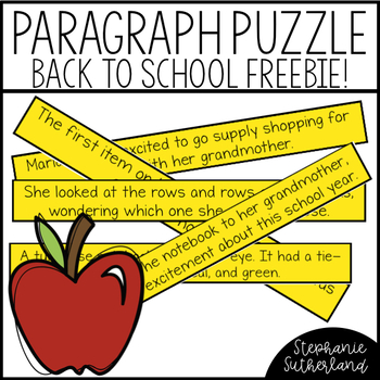Back to School Writing Freebie | Paragraph Puzzles