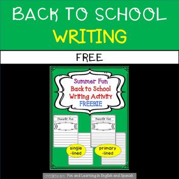 Back to School Writing Freebie - Summer Fun