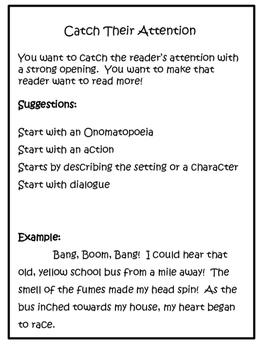 Back to School Writing: Grades 3-5