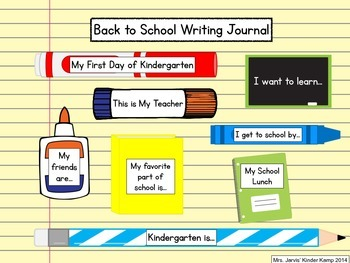 Back to School Writing Journal for Kindergarten